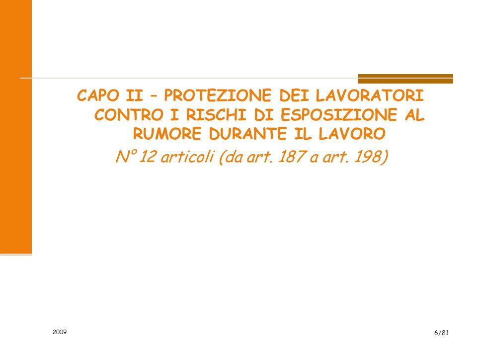 CAPO II – PROTEZIONE DEI LAVORATORI CONTRO I RISCHI DI ESPOSIZIONE AL RUMORE DURANTE IL LAVORO N° 12 articoli (da art. 187 a art. 198) 2009 6/81