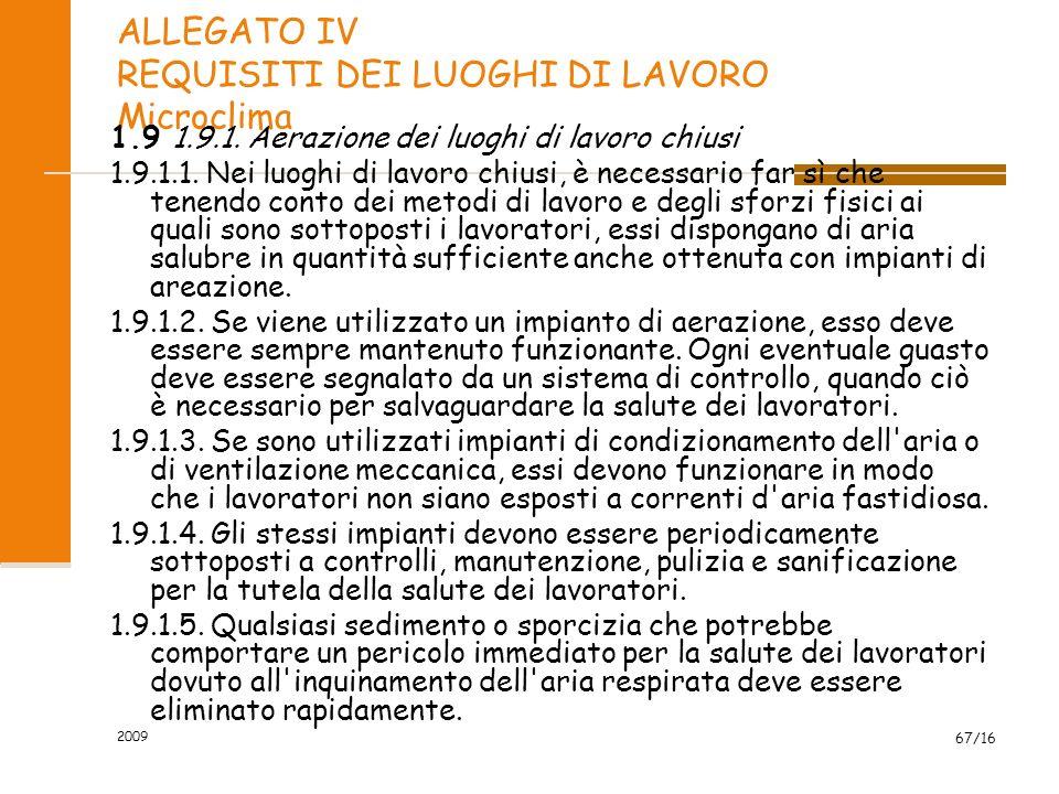 2009 67/16 ALLEGATO IV REQUISITI DEI LUOGHI DI LAVORO Microclima 1.9 1.9.1. Aerazione dei luoghi di lavoro chiusi 1.9.1.1. Nei luoghi di lavoro chiusi