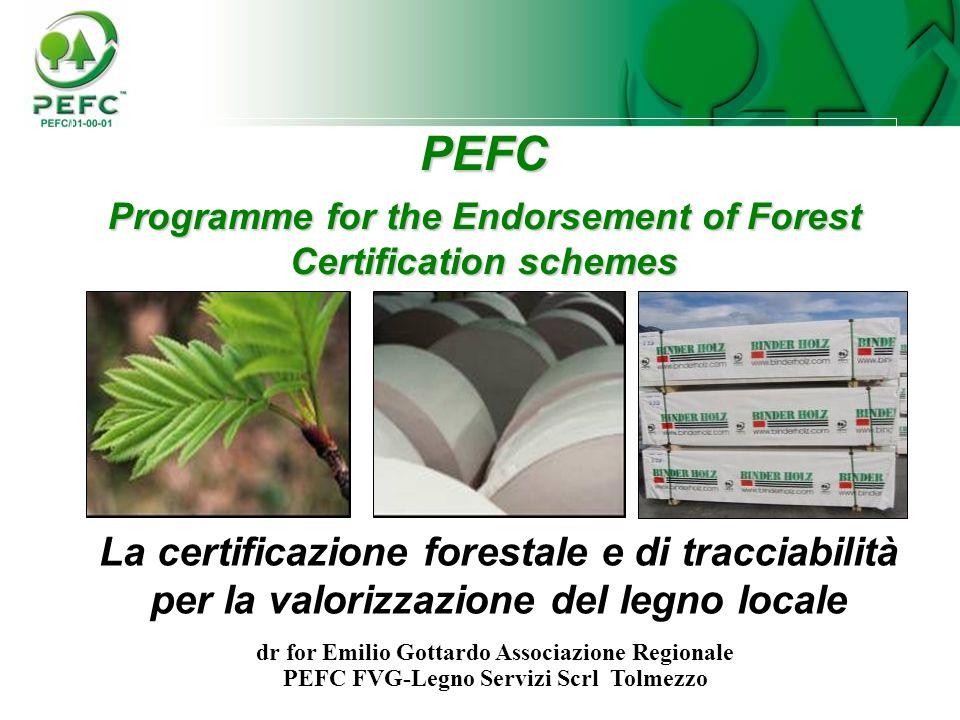 PEFC Programme for the Endorsement of Forest Certification schemes La certificazione forestale e di tracciabilità per la valorizzazione del legno loca