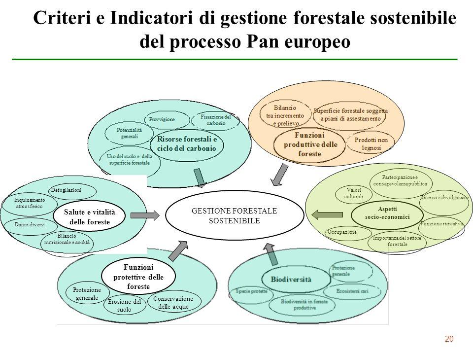 20 Criteri e Indicatori di gestione forestale sostenibile del processo Pan europeo GESTIONE FORESTALE SOSTENIBILE Salute e vitalità delle foreste Defo