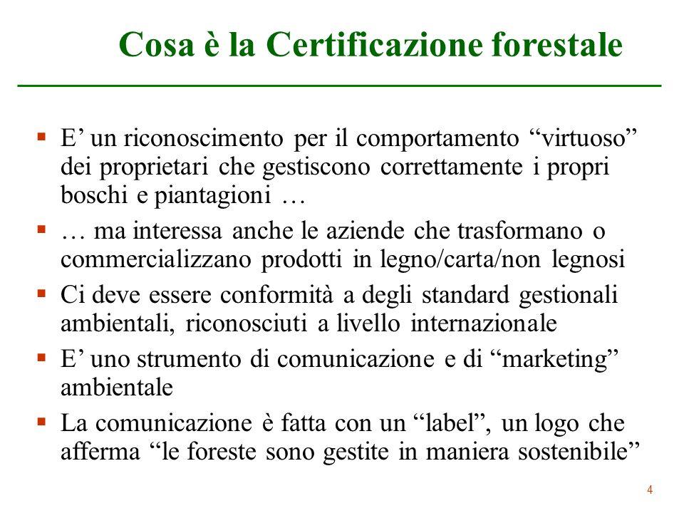 44 Cosa è la Certificazione forestale E un riconoscimento per il comportamento virtuoso dei proprietari che gestiscono correttamente i propri boschi e