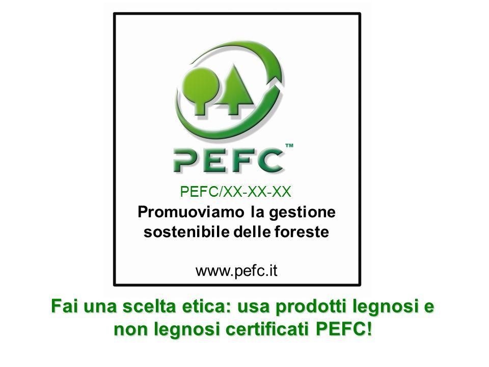 Promuoviamo la gestione sostenibile delle foreste www.pefc.it PEFC/XX-XX-XX Fai una scelta etica: usa prodotti legnosi e non legnosi certificati PEFC!