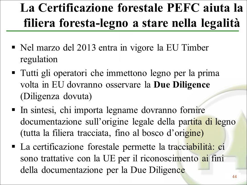 44 La Certificazione forestale PEFC aiuta la filiera foresta-legno a stare nella legalità Nel marzo del 2013 entra in vigore la EU Timber regulation T