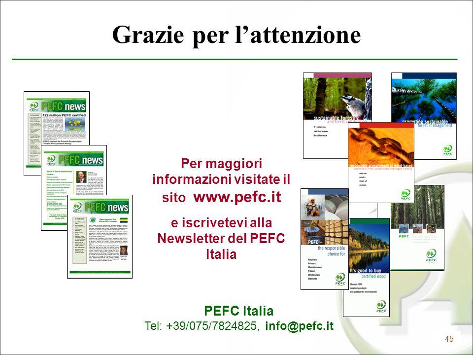 45 Grazie per lattenzione PEFC Italia Tel: +39/075/7824825, info@pefc.it Per maggiori informazioni visitate il sito www.pefc.it e iscrivetevi alla New