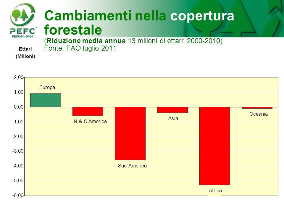 Cambiamenti nella copertura forestale (Riduzione media annua 13 milioni di ettari: 2000-2010) Fonte: FAO luglio 2011 N & C America Sud America Asia Af
