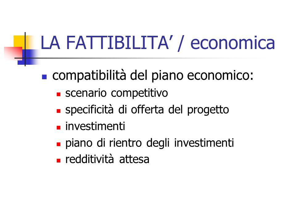 LA FATTIBILITA / economica compatibilità del piano economico: scenario competitivo specificità di offerta del progetto investimenti piano di rientro d