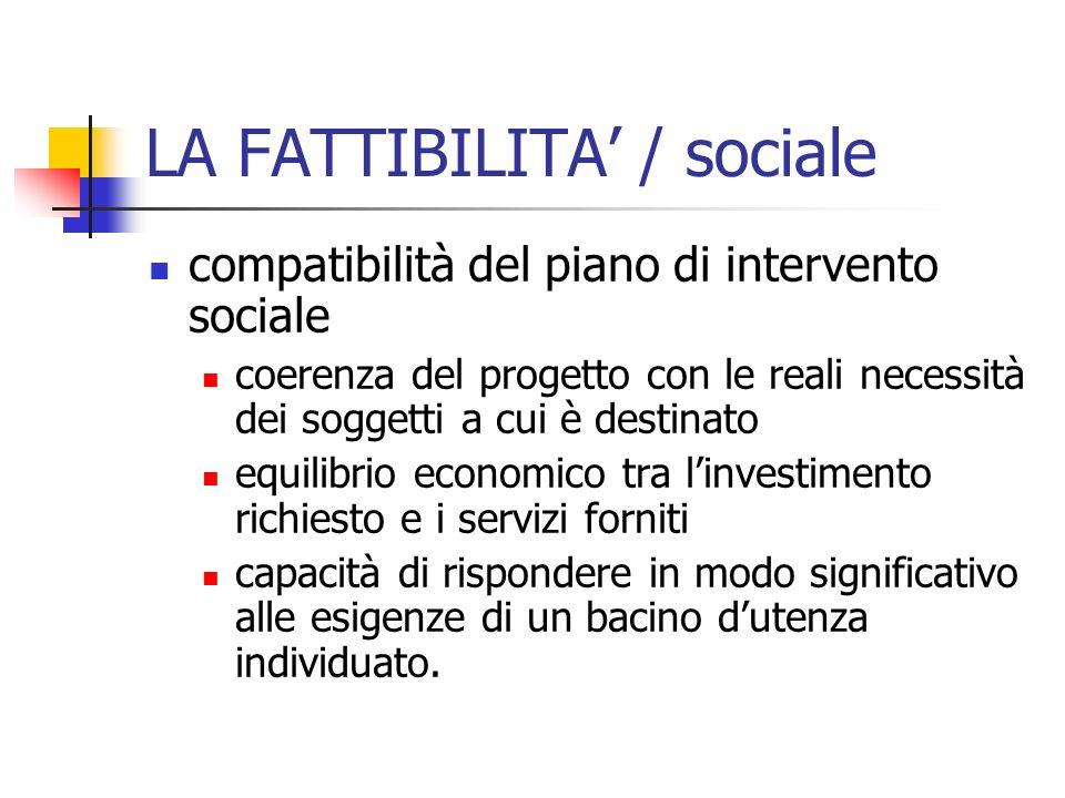 LA FATTIBILITA / sociale compatibilità del piano di intervento sociale coerenza del progetto con le reali necessità dei soggetti a cui è destinato equ