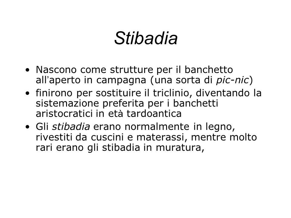 Stibadia Nascono come strutture per il banchetto all aperto in campagna (una sorta di pic-nic) finirono per sostituire il triclinio, diventando la sis