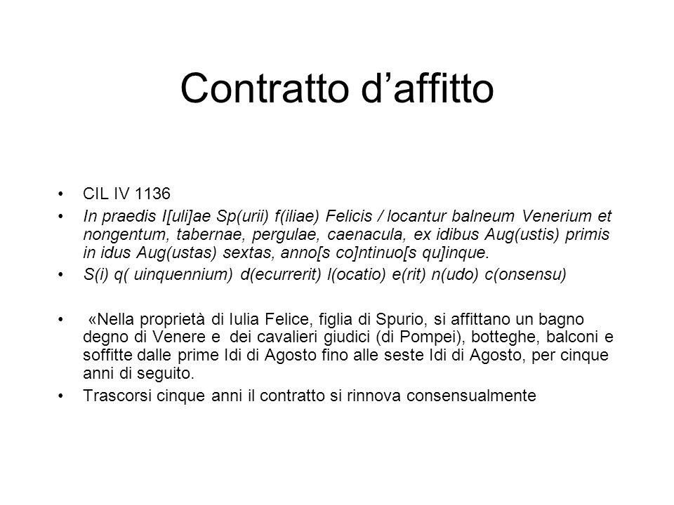 Contratto daffitto CIL IV 1136 In praedis I[uli]ae Sp(urii) f(iliae) Felicis / locantur balneum Venerium et nongentum, tabernae, pergulae, caenacula, ex idibus Aug(ustis) primis in idus Aug(ustas) sextas, anno[s co]ntinuo[s qu]inque.