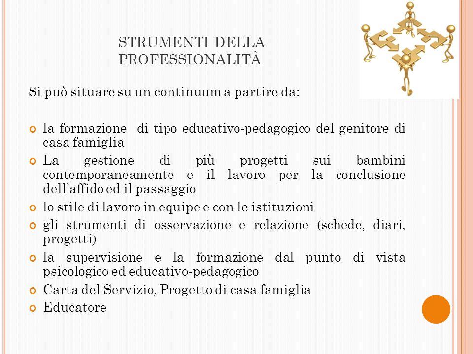 STRUMENTI DELLA PROFESSIONALITÀ Si può situare su un continuum a partire da: la formazione di tipo educativo-pedagogico del genitore di casa famiglia