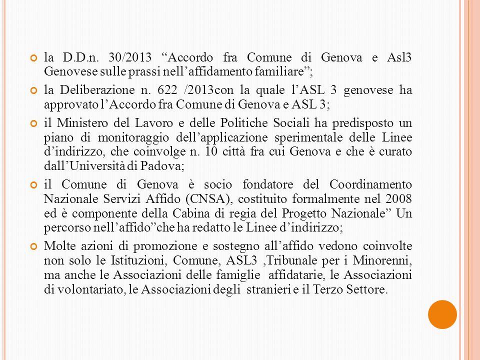 la D.D.n. 30/2013 Accordo fra Comune di Genova e Asl3 Genovese sulle prassi nellaffidamento familiare; la Deliberazione n. 622 /2013con la quale lASL