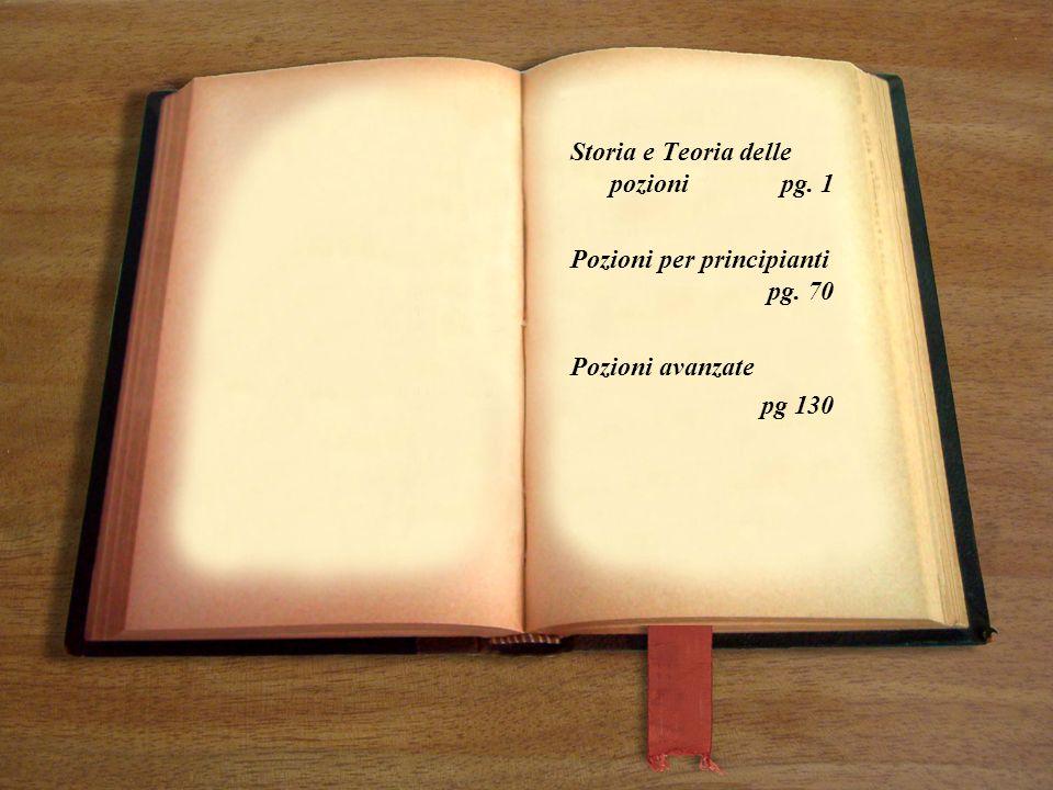 Storia e Teoria delle pozionipg. 1 Pozioni per principianti pg. 70 Pozioni avanzate pg 130