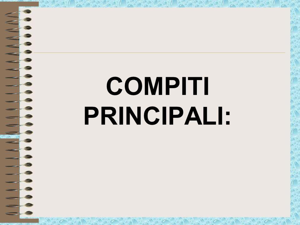 COMPITI PRINCIPALI:
