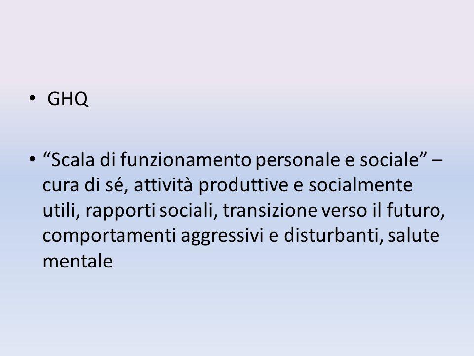 GHQ Scala di funzionamento personale e sociale – cura di sé, attività produttive e socialmente utili, rapporti sociali, transizione verso il futuro, comportamenti aggressivi e disturbanti, salute mentale