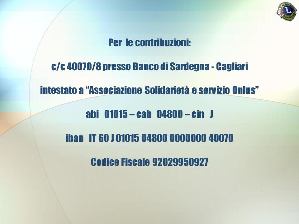 Per le contribuzioni: c/c 40070/8 presso Banco di Sardegna - Cagliari intestato a Associazione Solidarietà e servizio Onlus abi 01015 – cab 04800 – cin J iban IT 60 J 01015 04800 0000000 40070 Codice Fiscale 92029950927