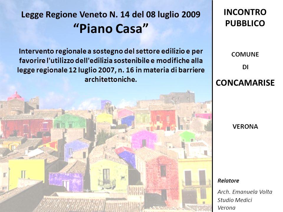 Legge Regione Veneto N. 14 del 08 luglio 2009 Piano Casa Intervento regionale a sostegno del settore edilizio e per favorire l'utilizzo dell'edilizia