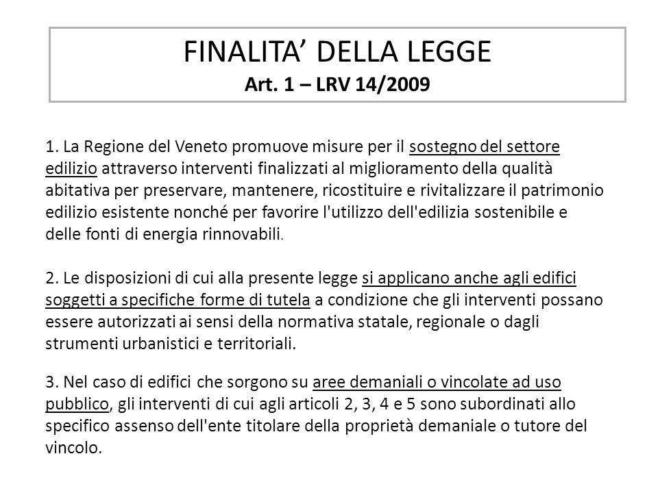 FINALITA DELLA LEGGE Art. 1 – LRV 14/2009 1. La Regione del Veneto promuove misure per il sostegno del settore edilizio attraverso interventi finalizz