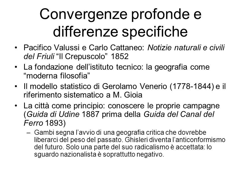 Convergenze profonde e differenze specifiche Pacifico Valussi e Carlo Cattaneo: Notizie naturali e civili del Friuli Il Crepuscolo 1852 La fondazione