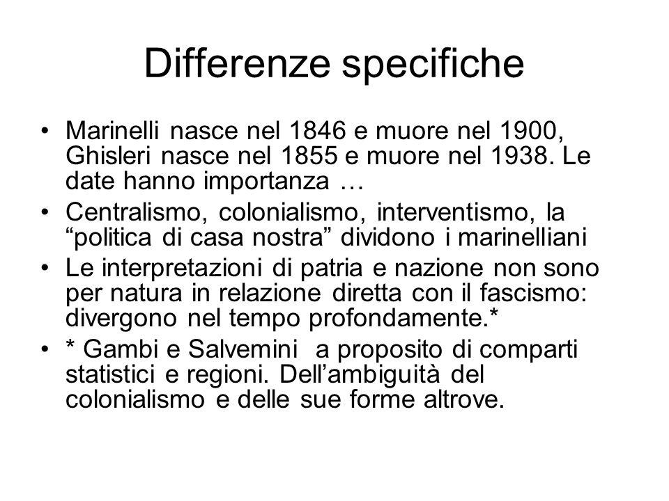 Differenze specifiche Marinelli nasce nel 1846 e muore nel 1900, Ghisleri nasce nel 1855 e muore nel 1938. Le date hanno importanza … Centralismo, col