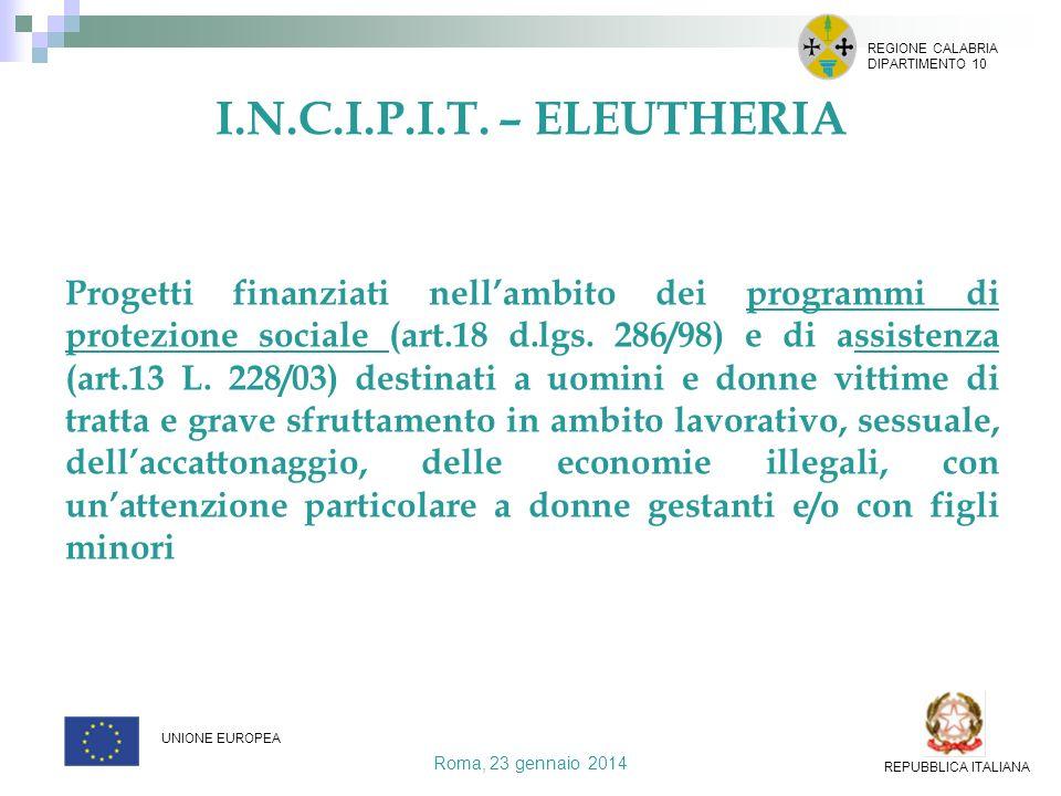Roma, 23 gennaio 2014 REGIONE CALABRIA DIPARTIMENTO 10 UNIONE EUROPEA REPUBBLICA ITALIANA Progetti finanziati nellambito dei programmi di protezione s