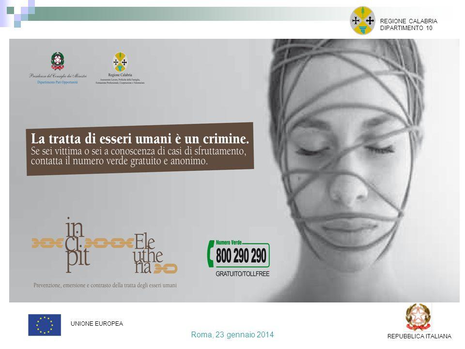Roma, 23 gennaio 2014 REGIONE CALABRIA DIPARTIMENTO 10 UNIONE EUROPEA REPUBBLICA ITALIANA