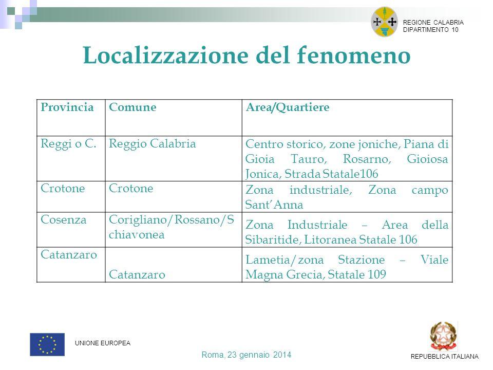 Localizzazione del fenomeno Roma, 23 gennaio 2014 REGIONE CALABRIA DIPARTIMENTO 10 UNIONE EUROPEA REPUBBLICA ITALIANA ProvinciaComuneArea/Quartiere Re