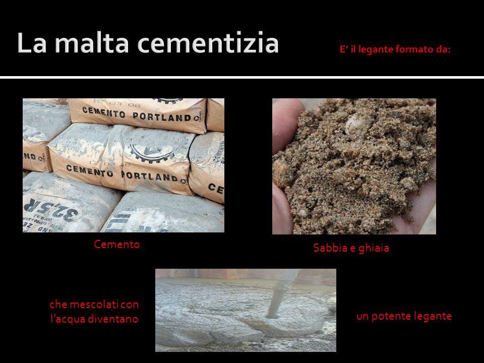 Sabbia e ghiaia Cemento che mescolati con lacqua diventano un potente legante