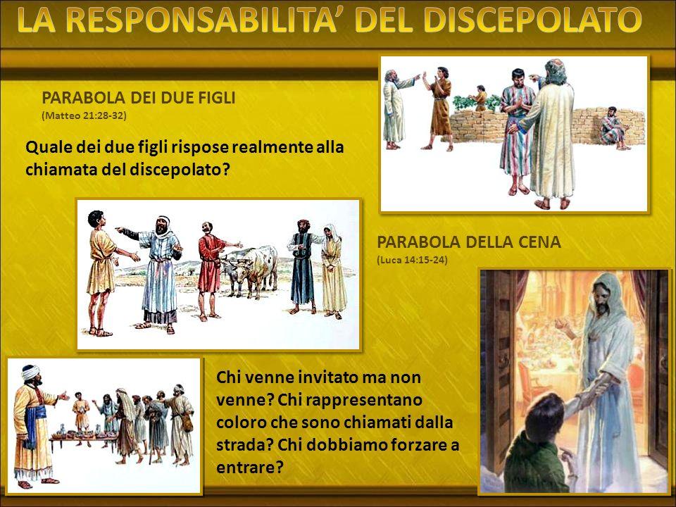 PARABOLA DEI DUE FIGLI (Matteo 21:28-32) Quale dei due figli rispose realmente alla chiamata del discepolato? PARABOLA DELLA CENA (Luca 14:15-24) Chi