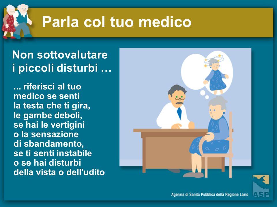 Parla col tuo medico Non sottovalutare i piccoli disturbi …... riferisci al tuo medico se senti la testa che ti gira, le gambe deboli, se hai le verti