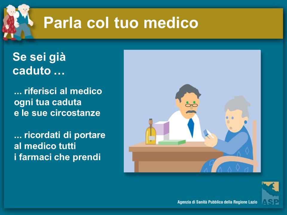Parla col tuo medico Se sei già caduto …... riferisci al medico ogni tua caduta e le sue circostanze... ricordati di portare al medico tutti i farmaci