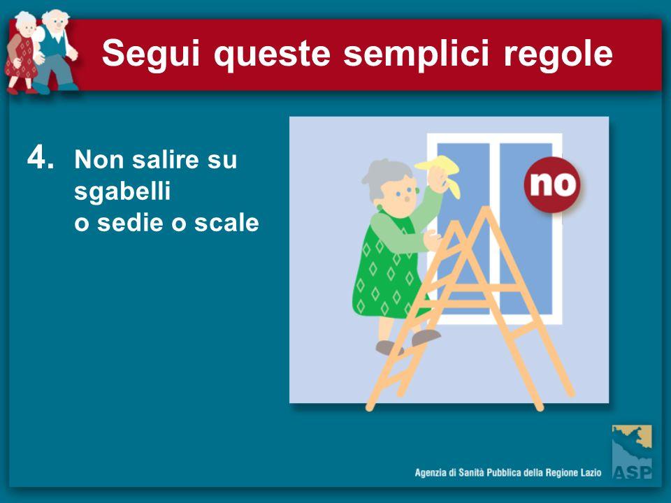 Segui queste semplici regole Non salire su sgabelli o sedie o scale 4.
