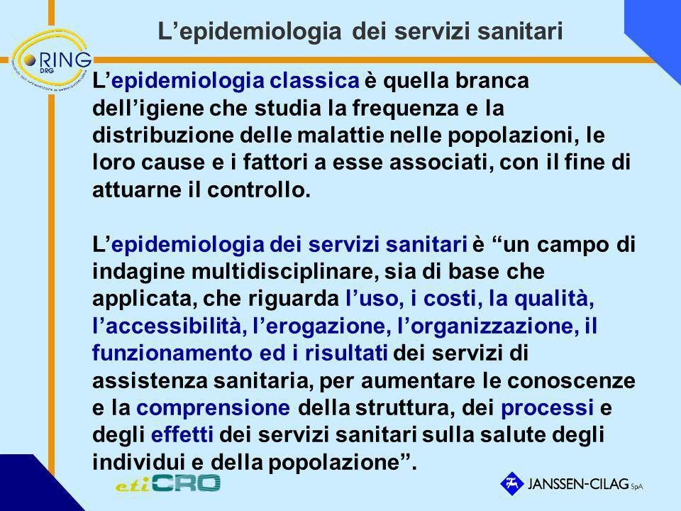 Lepidemiologia dei servizi sanitari Lepidemiologia classica è quella branca delligiene che studia la frequenza e la distribuzione delle malattie nelle