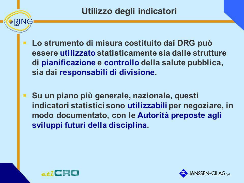 Utilizzo degli indicatori Lo strumento di misura costituito dai DRG può essere utilizzato statisticamente sia dalle strutture di pianificazione e cont