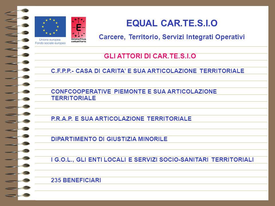 EQUAL CAR.TE.S.I.O Carcere, Territorio, Servizi Integrati Operativi GLI ATTORI DI CAR.TE.S.I.O C.F.P.P.- CASA DI CARITA E SUA ARTICOLAZIONE TERRITORIALE CONFCOOPERATIVE PIEMONTE E SUA ARTICOLAZIONE TERRITORIALE P.R.A.P.