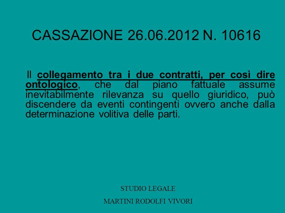 CASSAZIONE 26.06.2012 N. 10616 Il collegamento tra i due contratti, per così dire ontologico, che dal piano fattuale assume inevitabilmente rilevanza