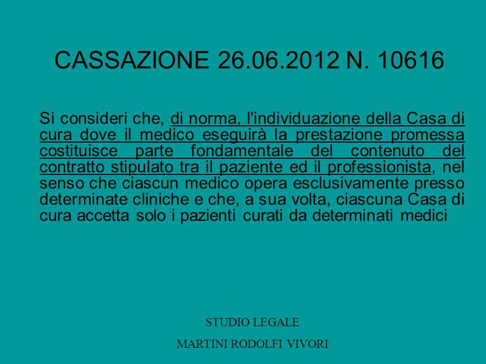 CASSAZIONE 26.06.2012 N. 10616 Si consideri che, di norma, l'individuazione della Casa di cura dove il medico eseguirà la prestazione promessa costitu