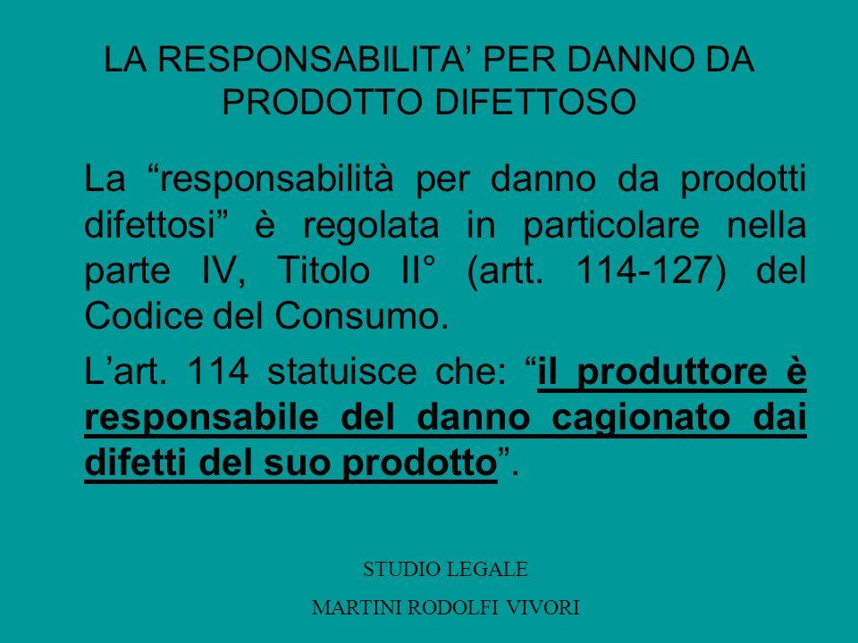 LA RESPONSABILITA PER DANNO DA PRODOTTO DIFETTOSO La responsabilità per danno da prodotti difettosi è regolata in particolare nella parte IV, Titolo I