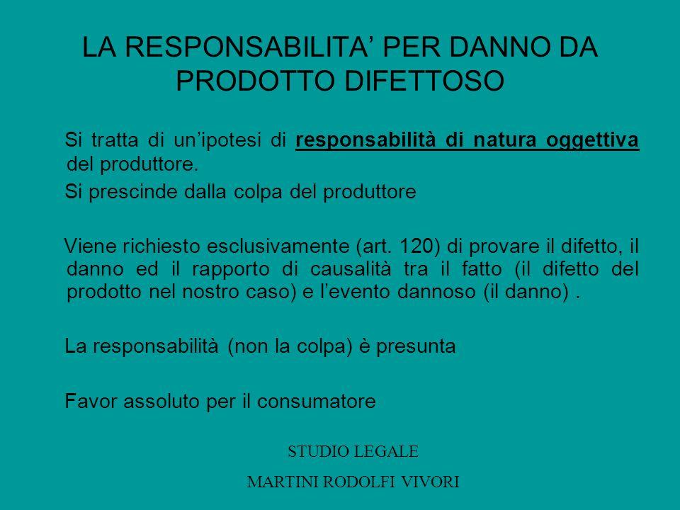 LA RESPONSABILITA PER DANNO DA PRODOTTO DIFETTOSO Si tratta di unipotesi di responsabilità di natura oggettiva del produttore. Si prescinde dalla colp