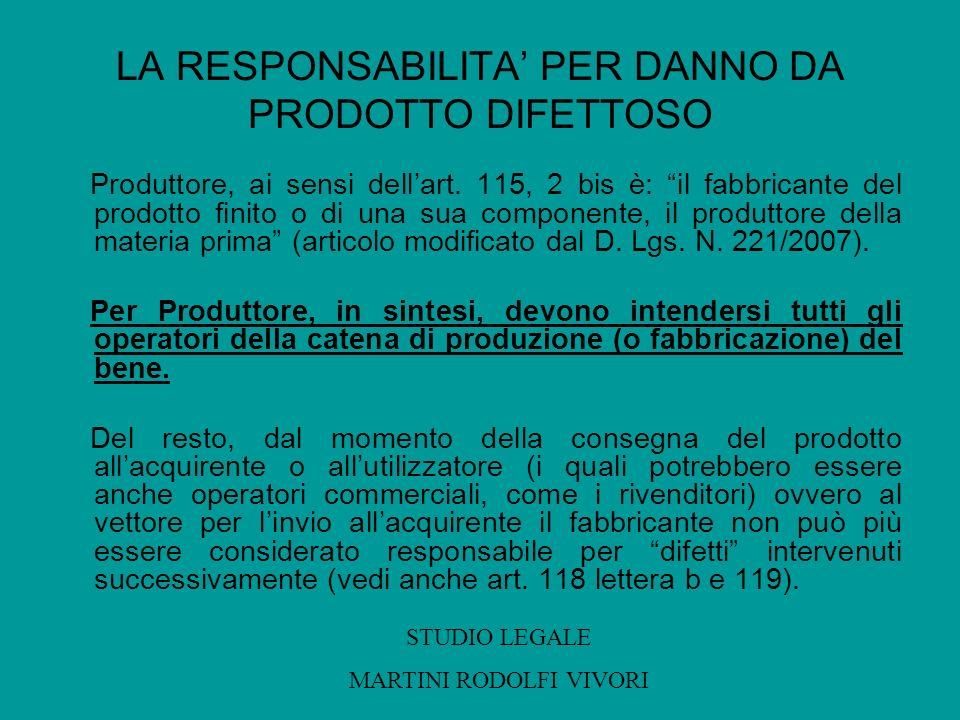 LA RESPONSABILITA PER DANNO DA PRODOTTO DIFETTOSO Produttore, ai sensi dellart. 115, 2 bis è: il fabbricante del prodotto finito o di una sua componen