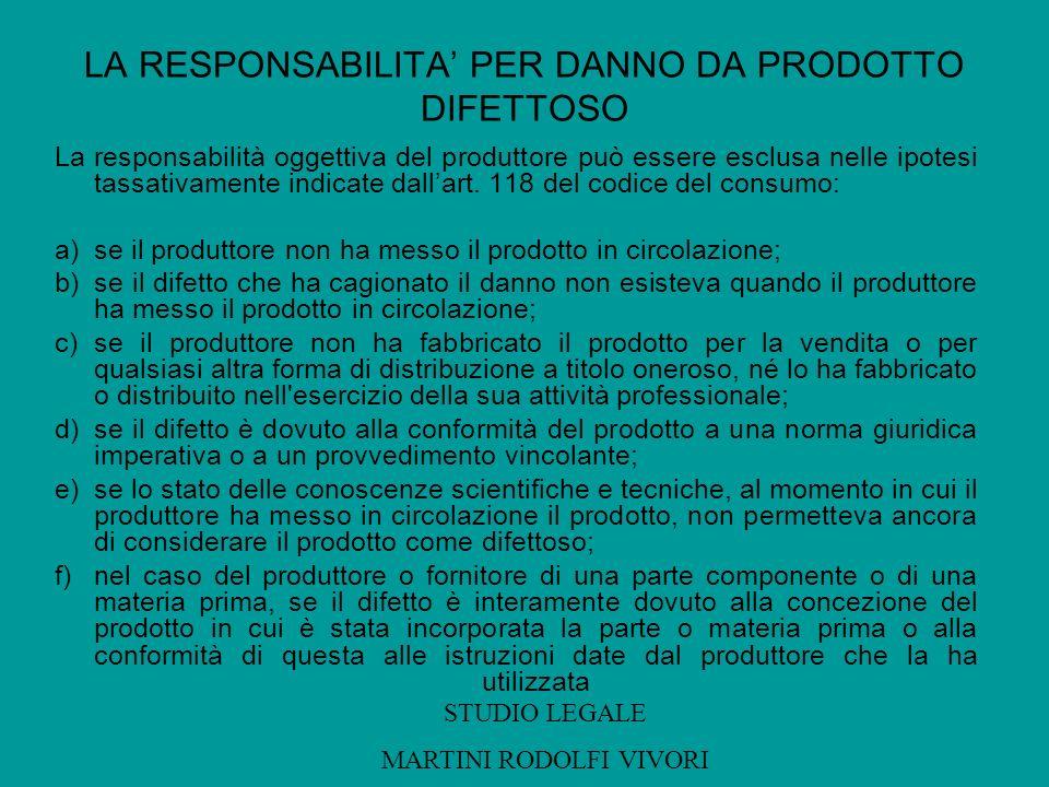 LA RESPONSABILITA PER DANNO DA PRODOTTO DIFETTOSO La responsabilità oggettiva del produttore può essere esclusa nelle ipotesi tassativamente indicate