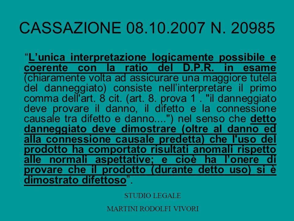 CASSAZIONE 08.10.2007 N. 20985 Lunica interpretazione logicamente possibile e coerente con la ratio del D.P.R. in esame (chiaramente volta ad assicura