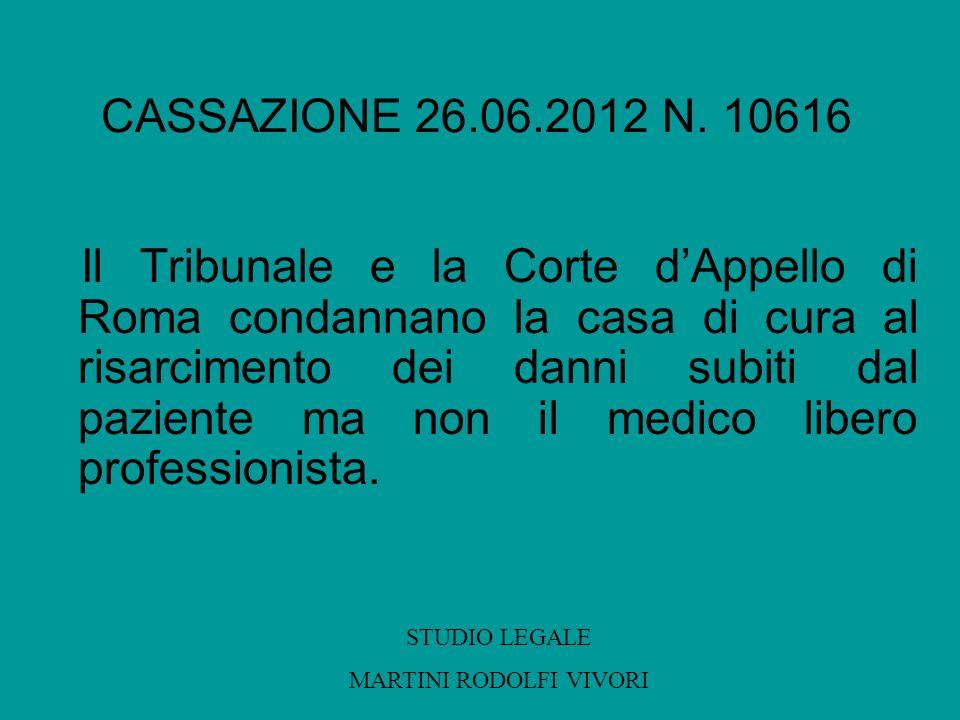 CASSAZIONE 26.06.2012 N. 10616 Il Tribunale e la Corte dAppello di Roma condannano la casa di cura al risarcimento dei danni subiti dal paziente ma no