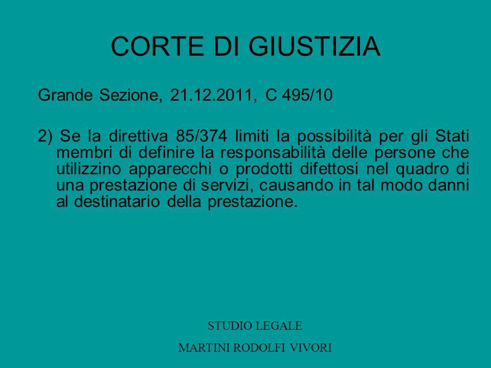 CORTE DI GIUSTIZIA Grande Sezione, 21.12.2011, C 495/10 2) Se la direttiva 85/374 limiti la possibilità per gli Stati membri di definire la responsabi