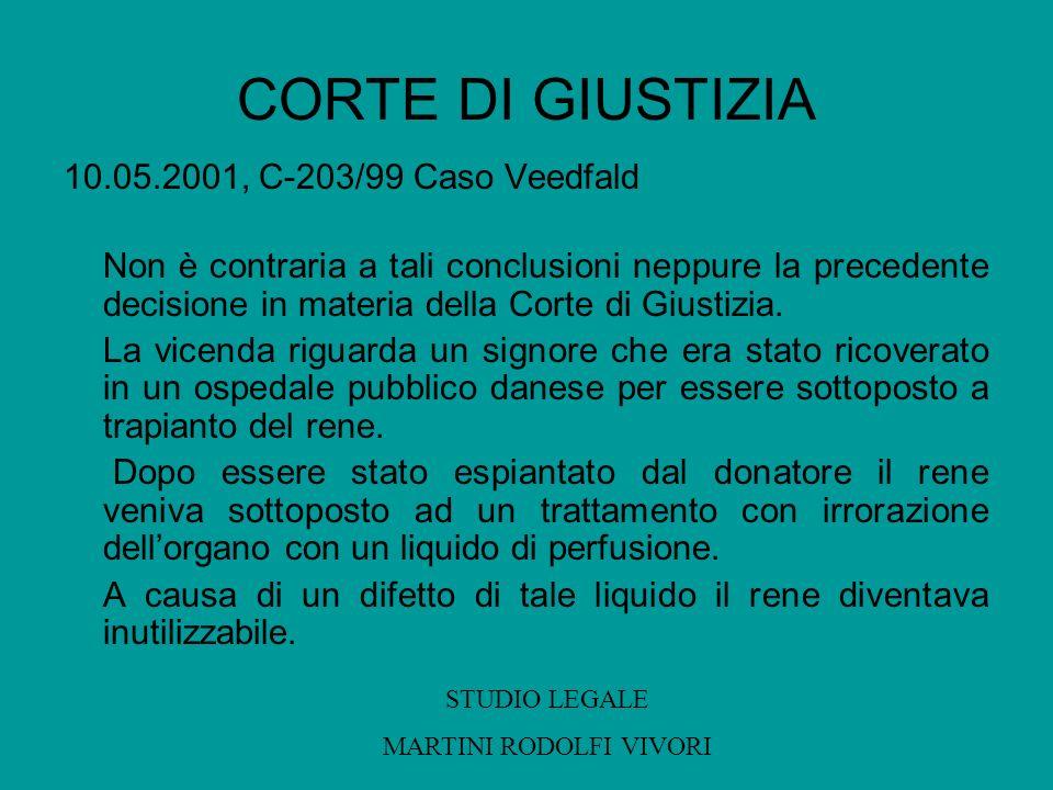 CORTE DI GIUSTIZIA 10.05.2001, C-203/99 Caso Veedfald Non è contraria a tali conclusioni neppure la precedente decisione in materia della Corte di Giu