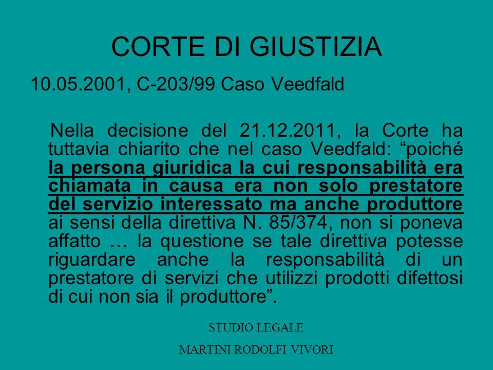 CORTE DI GIUSTIZIA 10.05.2001, C-203/99 Caso Veedfald Nella decisione del 21.12.2011, la Corte ha tuttavia chiarito che nel caso Veedfald: poiché la p