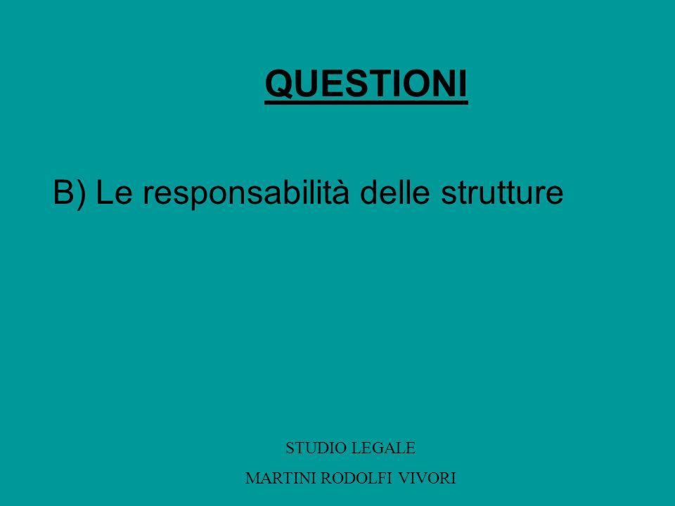 QUESTIONI B) Le responsabilità delle strutture STUDIO LEGALE MARTINI RODOLFI VIVORI