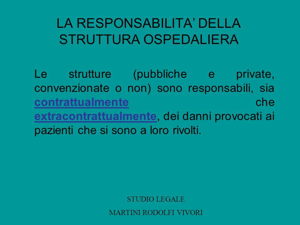 LA RESPONSABILITA DELLA STRUTTURA OSPEDALIERA Le strutture (pubbliche e private, convenzionate o non) sono responsabili, sia contrattualmente che extr