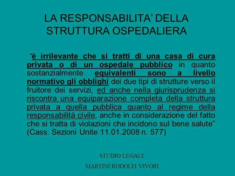 LA RESPONSABILITA DELLA STRUTTURA OSPEDALIERA è irrilevante che si tratti di una casa di cura privata o di un ospedale pubblico in quanto sostanzialme
