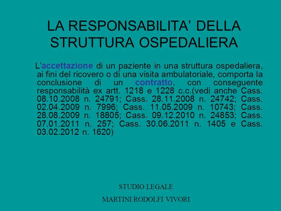 LA RESPONSABILITA DELLA STRUTTURA OSPEDALIERA Laccettazione di un paziente in una struttura ospedaliera, ai fini del ricovero o di una visita ambulato