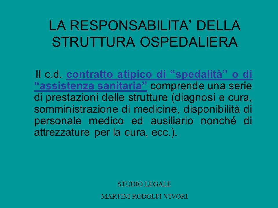 LA RESPONSABILITA DELLA STRUTTURA OSPEDALIERA Il c.d. contratto atipico di spedalità o di assistenza sanitaria comprende una serie di prestazioni dell